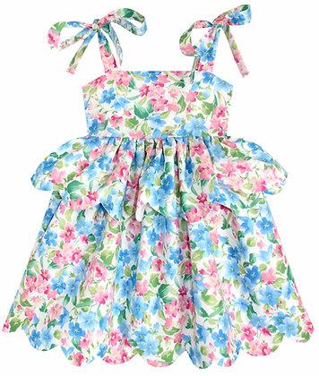 Kids 4y: Scallop Peplum Petal Dress - Azalea Garden
