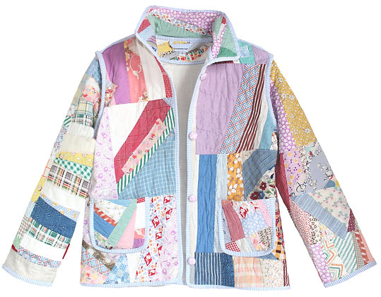 Adult Small Vintage Quilt Jacket - Multicolored Patchwork