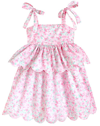 Kids 8y: Scallop Peplum Petal Dress - Pink Cherry Blossom