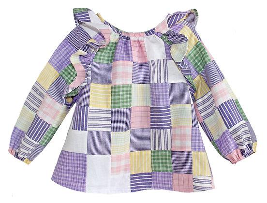 Kids 5y: Lavender Patchwork Ruffled Blouse