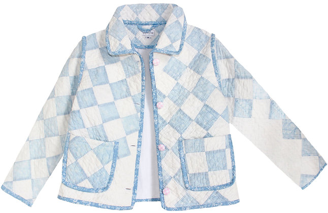 Kids 8y Vintage Quilt Jacket - Pastel Blue Check