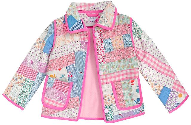 Kids 4-5t Vintage Quilt Jacket - Neon Floral Patchwork