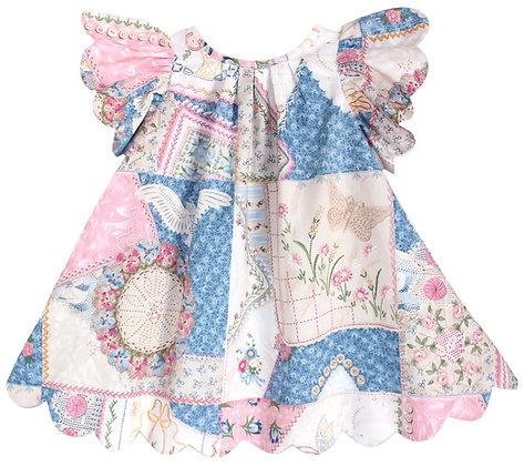 Kids 4y: Scallop Petal Dress - Patchwork