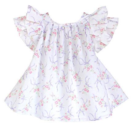Kids 12m: Pleated Flutter Dress - Ribbons & Roses