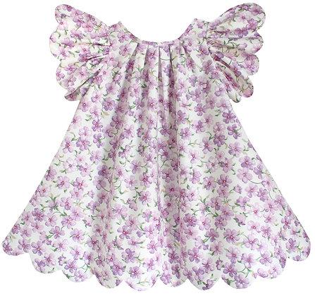 Kids 4y: Scallop Petal Dress - Violet