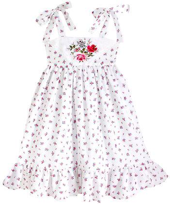 Kids 8y: Dimity Floral Dress - Red Garden Roses