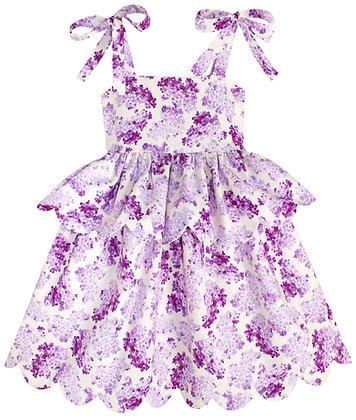 Kids 6y: Scallop Peplum Petal Dress - Lilacs