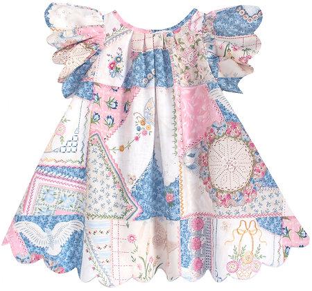 Kids 6y: Scallop Petal Dress - Patchwork