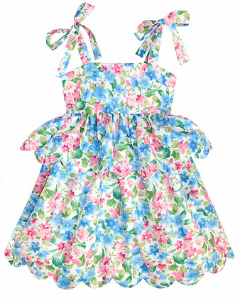 Kids 6y: Scallop Peplum Petal Dress - Azalea Garden
