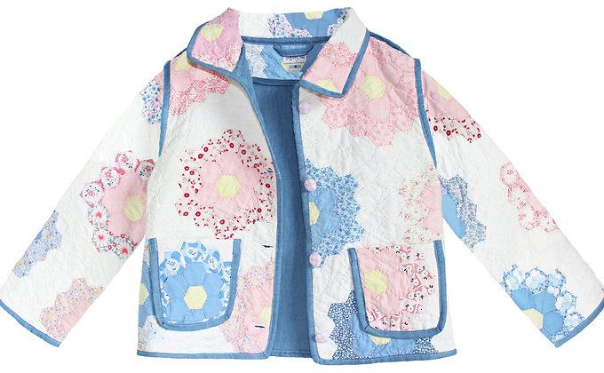 Kids 6T Vintage Quilt Jacket - Pastel Flower Garden