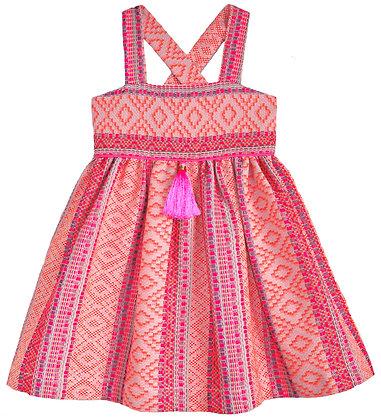 Neon Woven Textile Dress