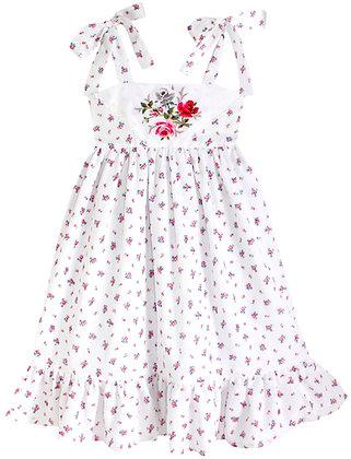 Kids 8y: Dimity Floral Dress - Red Rose