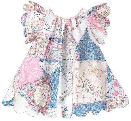 Kids 5y: Scallop Petal Dress - Patchwork