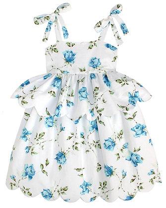 Kids 8y: Scallop Peplum Petal Dress - Blue Rose