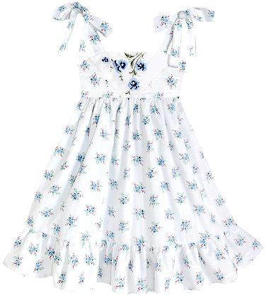 Kids 4y: Dimity Floral Dress - Blue Geranium