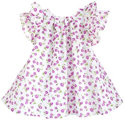 Kids 4y: Pleated Flutter Dress - Magenta Rosebud