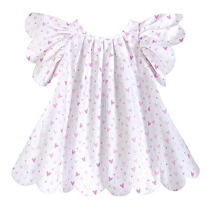 Kids 3y: Scallop Petal Dress - Pink Hearts