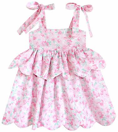 Kids 18m: Scallop Peplum Petal Dress - Pink Cherry Blossom