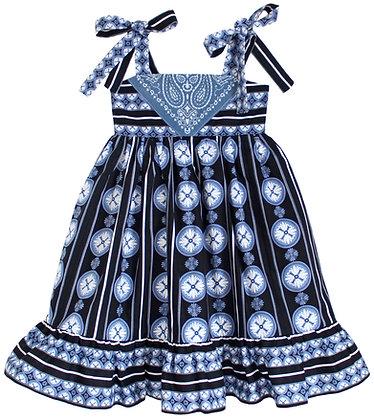 Kids Country French Blue Bandana Dress