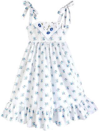 Kids 10y: Dimity Floral Dress - Blue Geranium