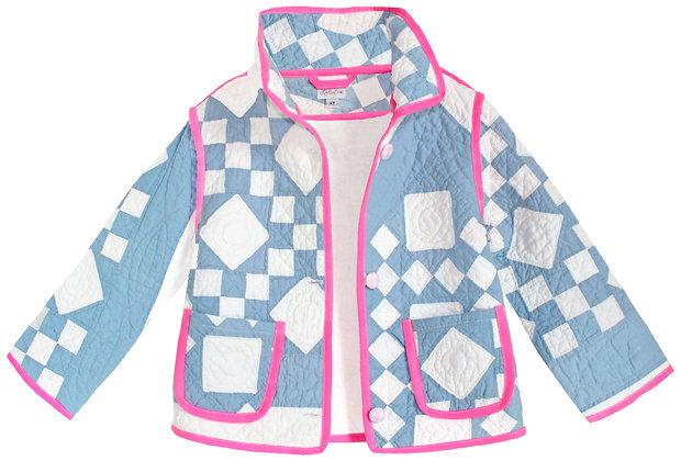 Kids 4-5t Vintage Quilt Jacket - Neon Blue Geometric