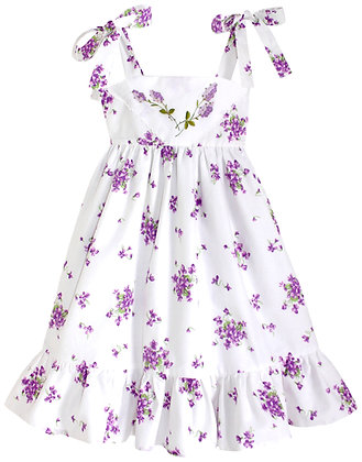 Kids 6y: Dimity Floral Dress - Lilacs