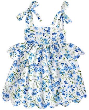 Kids 4y: Scallop Peplum Petal Dress - Bluebells