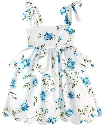 Kids 6y: Scallop Peplum Petal Dress - Blue Rose