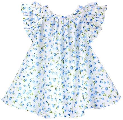 Kids 5y: Pleated Flutter Dress - Blue Rosebud