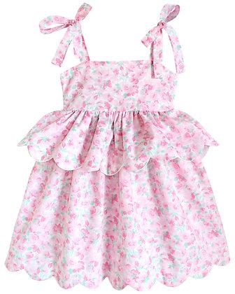 Kids 6y: Scallop Peplum Petal Dress - Pink Cherry Blossom