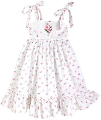 Kids 6y: Dimity Floral Dress - Pink Anemone