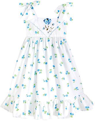 Kids 8y: Dimity Floral Dress - Blue Rosebud