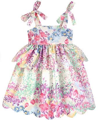Kids 8y: Scallop Peplum Petal Dress - Impressionist Garden