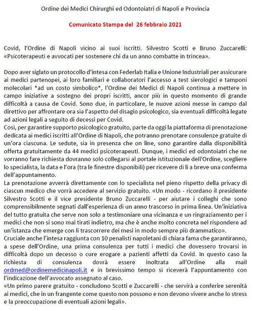 COMUNICATO STAMPA ORDINE DEI MEDICI NAPO