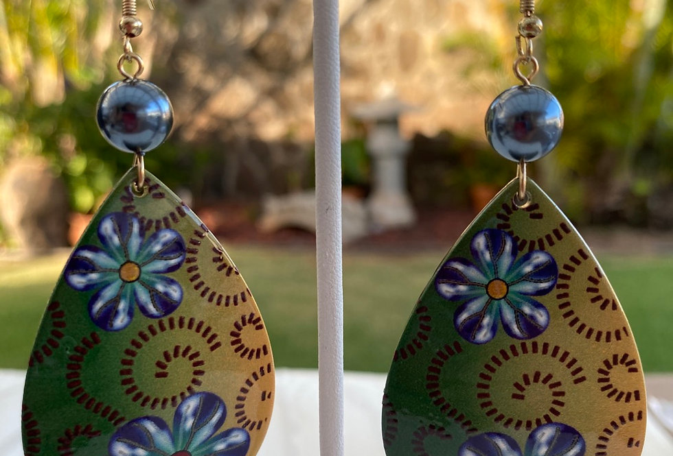 Acrylic Polynesian design earrings