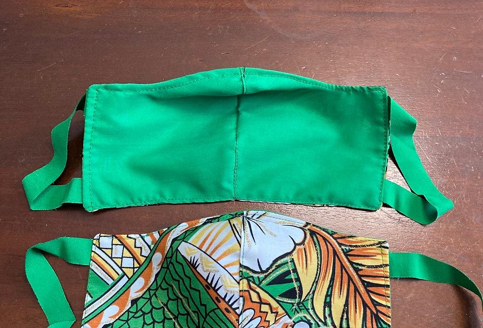 Green\Yellow Hawaii Print Face Maskk