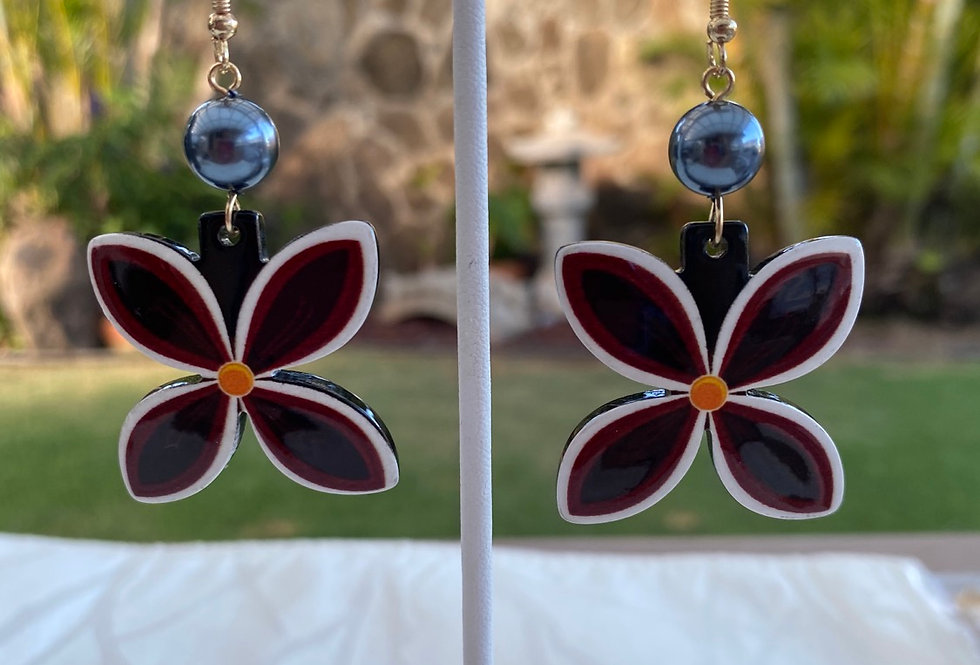 Acrylic Polynesian design earrings