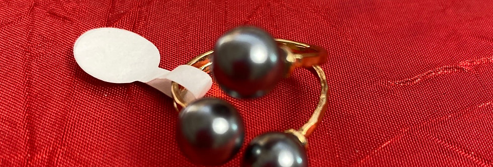 Gold filled 3 pearl adjustable ring
