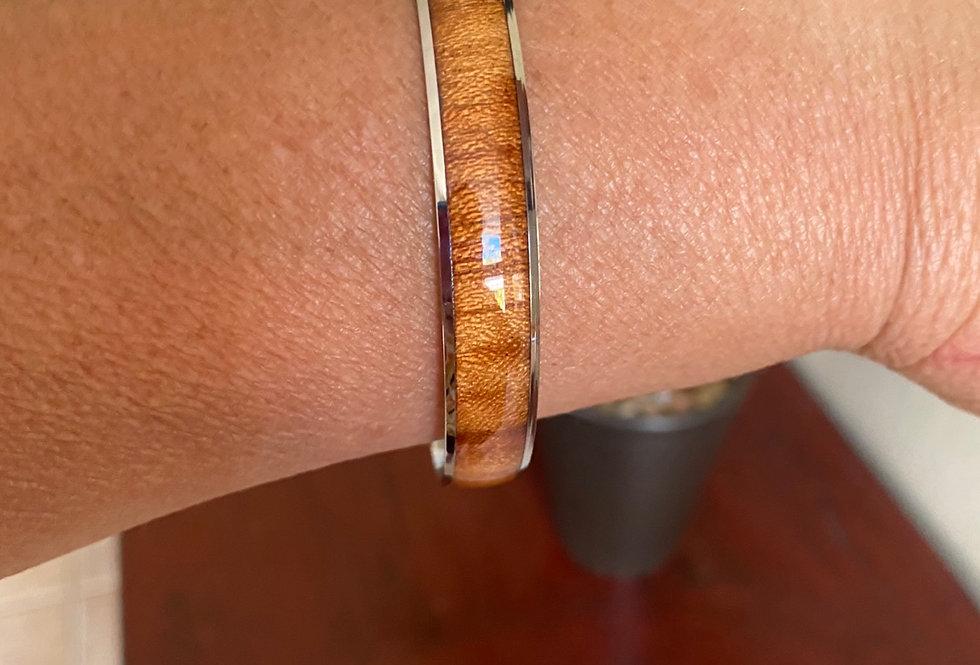 Wood combo stainless steel bangle