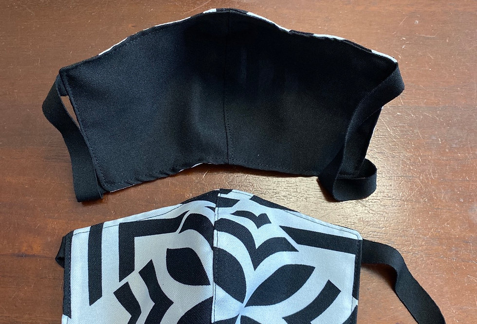 Black\White Flower Hawaii Print Face Mask