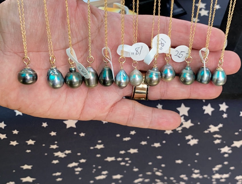 """Tahitian pearl necklace on 18"""" gold filled chain"""