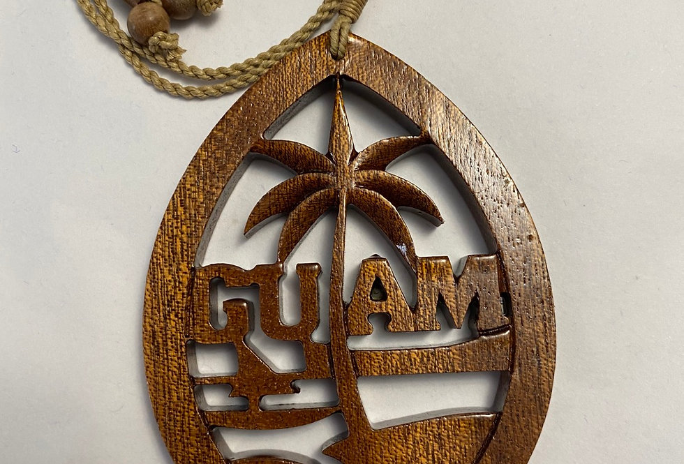 "Guam seal wooden 2"" with adjustable cord necklace"