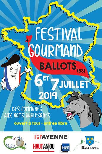 affiche festival gourmand des commune aux noms burlesques 2019 Ballots