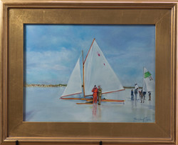 """""""Ice Boating on the Navesink"""" oil"""