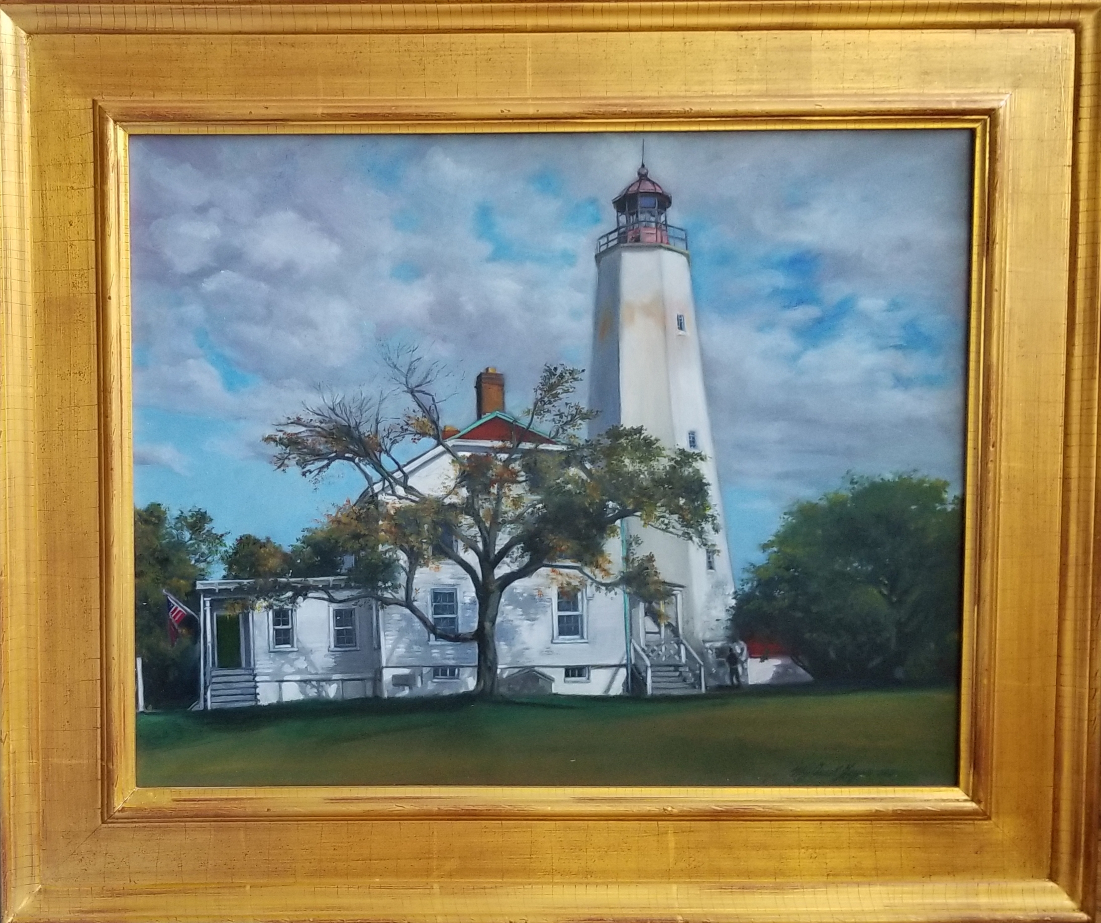 """Fort Hancock Lighthouse"" oil"