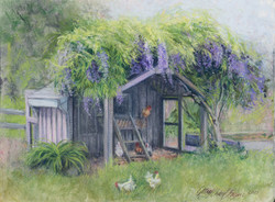 Chicken Coup, Rumson Style, Pastel 9x12