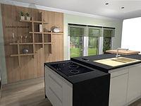 Küchenplaner Brandenburg, Regalwand, Kochbereich, Kücheninsel