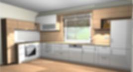L-Küche, Küche weiß braun, Rückwand, bicolor, Schüller