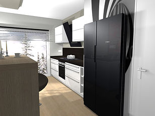 Küchenplaner Wustermark, offene Küche, amerikanische Küche, Tresen in Küche, Schüller, Küche schwarz weiss