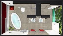Badplaner Potsdam, Luxusbad, ovale Wanne, Doppelwaschtisch, Walk-in-Dusche,